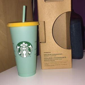 Teal color changing Starbucks cup